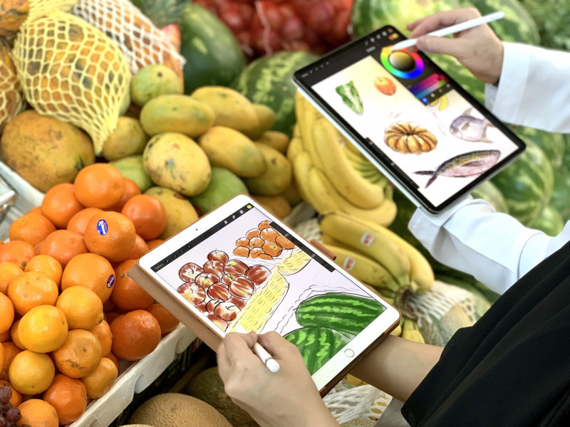 Digital Illustration at Sharjah's Fresh Produce Market