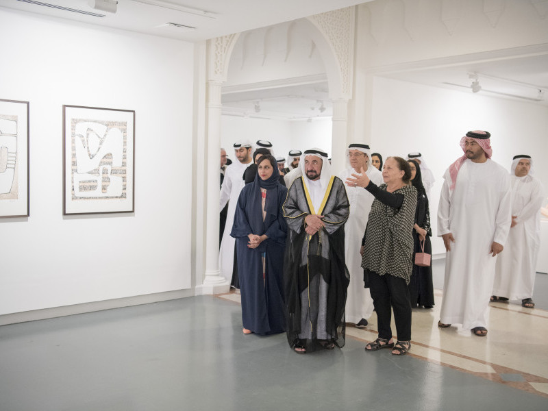 HH Sheikh Dr Sultan bin Mohammed Al Qasimi, member of the Federal Supreme Council, Ruler of Sharjah, opened Mona Saudi: Poetry and Form exhibition