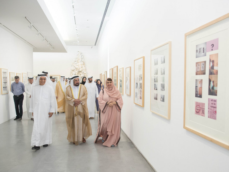HH Sheikh Dr Sultan bin Mohammed Al Qasimi, member of the Federal Supreme Council, Ruler of Sharjah, opens Hassan Sharif retrospective at Sharjah Art Foundation
